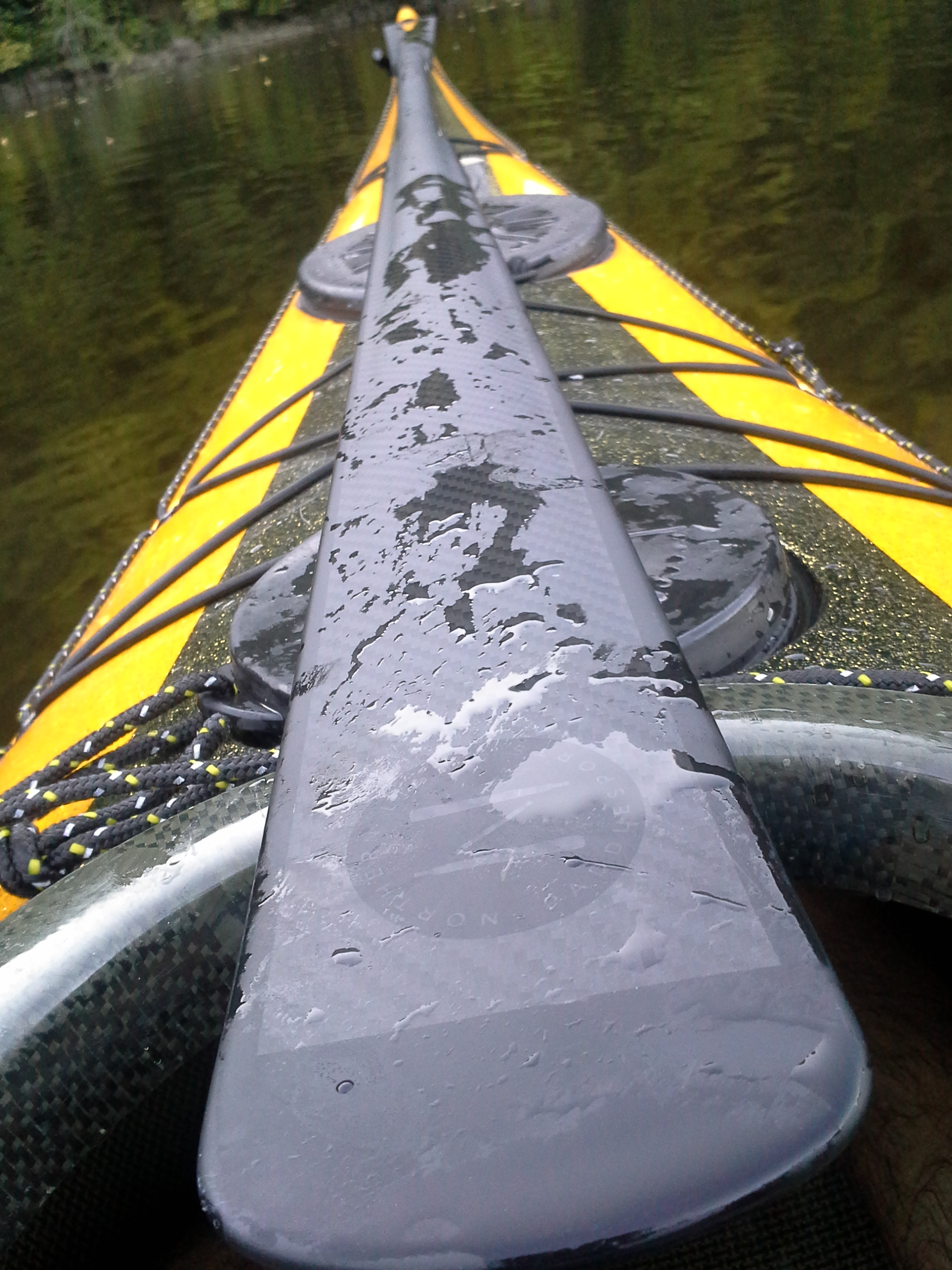 I am glad I didn't get it in white color as I wouldn't see the water drops on the outer layer of my paddle