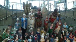 Collection of figureheads that used to collect of the captains.