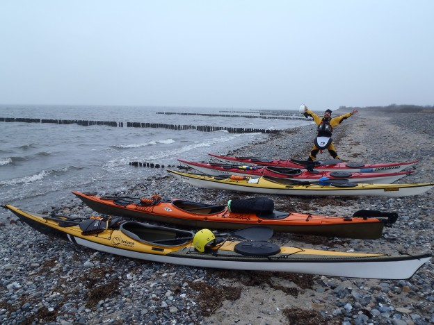 Standa at the starting point, proud of his kayaks